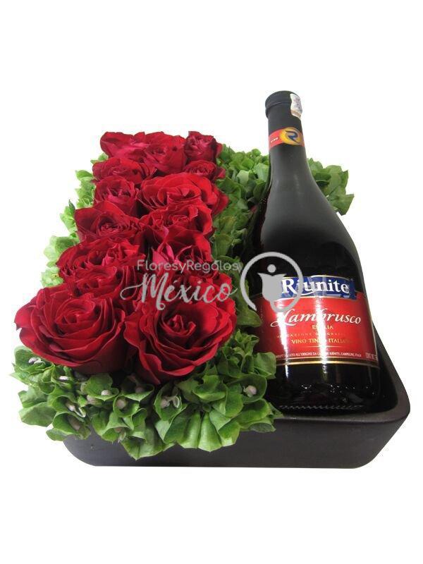 rosas y vino tinto