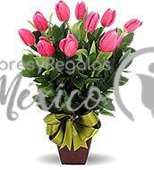 tulipanes en base de ceramica