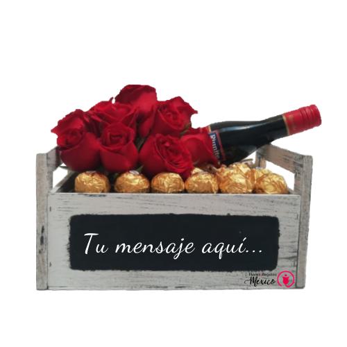 detalle con vino tinto con rosas