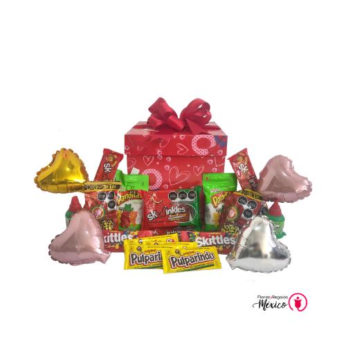 caja de amor con globos